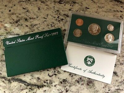 1997 United States Mint CLAD Proof Set San Francisco Mint 5 COINS with Box & COA