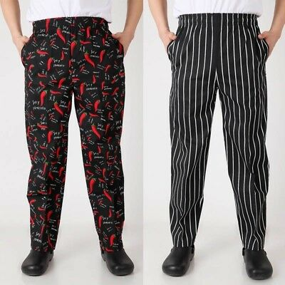 a7e9a9b0e390df Unisex Men Loose Baggy Chef Pants Restaurant Cook Uniform Trousers Elastic  Waist