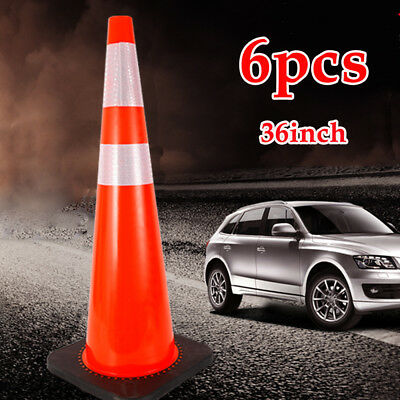"6 Pack 36"" Safety Cones Road Emergency Parking Traffic Cone 2 Reflective Collars"