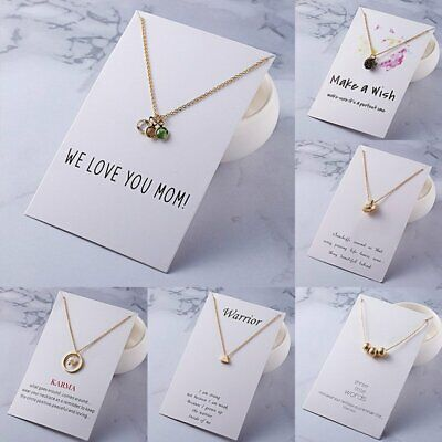 Fashion Pearl Wish Mom Paper Card Necklace Short Chain Women Girls Jewelry Gift