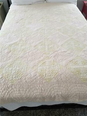 Sweet Vintage Amish Crossroads Quilt Pink Yellow York Co., Pa Hand Quilted