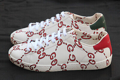 7b5427c3fb1 Auth Gucci Ace Ghost GG Logo Print Red White Leather Sneaker EU 36.5 US 6.5
