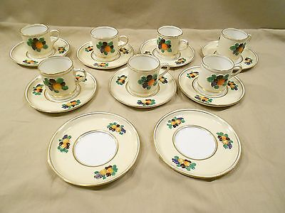 Booth's Silicon China, Celon Ivory, Demitasse Cups/saucers, 7 Cups, 9 Saucers