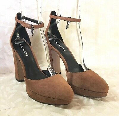 ab97d1b620a Coach Womens Heels Size 11 Brown Platform Ankle Strap Chrystie Saddle Suede  New