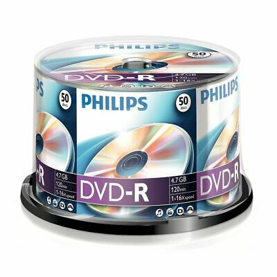 50 x Philips DVD-R Blank Recordable Discs 4.7GB 120 Mins 16x Speed, Spindle Pack