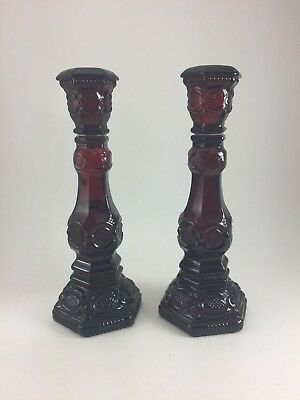 """Vintage Avon 1876 Cape Cod Collection Red Candlesticks 8 1/2"""" High"""