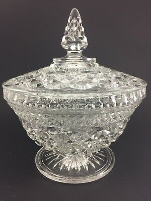 """Vintage Anchor Hocking Wexford Pattern Covered Candy Dish 8 1/2"""" High"""