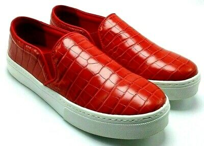 fc19e7304044 Sam Edelman Lacey Woman's Leather Crocodile Red Platform Fashion Sneakers