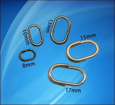 100x High Strength Split Rings Oval Stainless Steel Silver Ring Connector Tackle