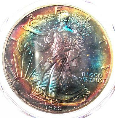 1989 Toned American Silver Eagle Dollar $1 ASE - PCGS MS67 - Rainbow Toning Coin