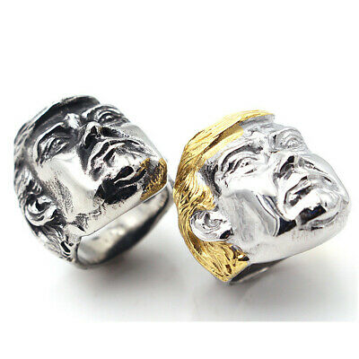 Mens Stainless Steel Gothic Punk Donald Trump Boy Biker Finger Ring Jewelry Gift