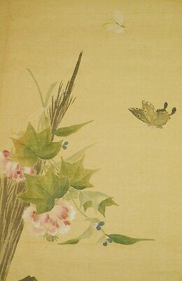 """JAPANESE ART PAINTING SCROLL 41.5"""" Flower Butterfly VINTAGE Japan Antique b705"""