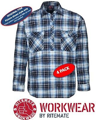 Ritemate -4 Pack- Closed Front Long Sleeve Flannelette Mens Work Shirt -Rm123Fcf
