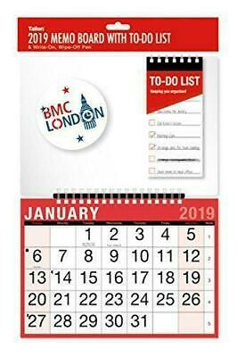 2019 MEMO BOARD WITH To DO LIST Calendar and Planner Month to View/Week to view