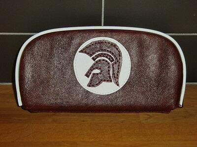 Oxblood leather grain effect Trojan Scooter Back Rest Cover (Purse Style)