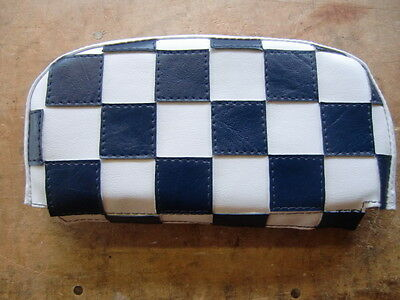 Dark Blue/White Check Scooter Back Rest Cover (Purse Style)