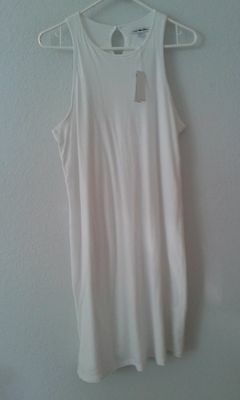 James Perse NEW solid white dress L (3) maxi COTTON sleeveless casual NWT $195