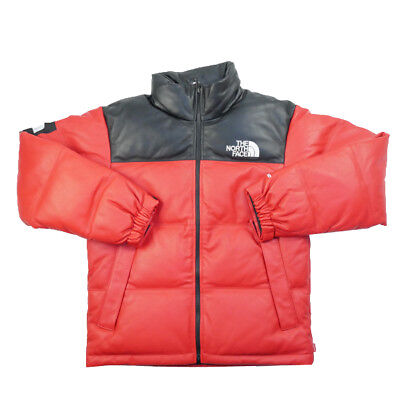 07246a75d SUPREME X THE North Face Leather Nuptse Size L Red Brand New 100 ...