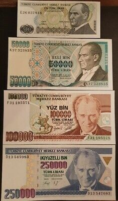 TURKEY - 4x Paper Bank Notes - aUNC
