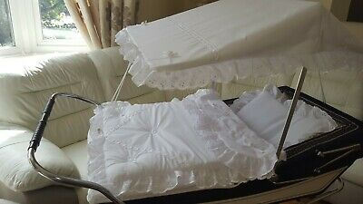 Pram Canopy and Quilt Set  to fit Silver Cross pram in white  ROSEBUD DESIGN