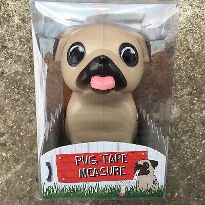 "CHEEKY PUG ""Beige"" Adorable Puppy Dog Retractable Measuring Tape Measure (100cm)"