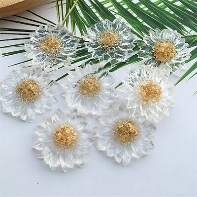 2pcs Transparent Daisy Brooch Cabochon Earring Patch Handcrafts Jewelry Making