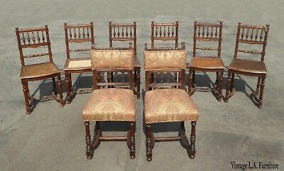 Set Eight Antique Vintage Ornate Spanish Style Dining Room Chairs w Cane Seats