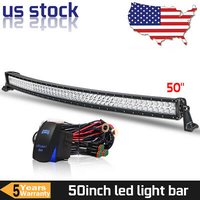 """50inch 700W LED Light Bar Curved Flood Spot Combo Offroad Truck Roof Driving 52"""""""