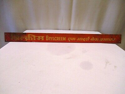 Vintage Brylcreem For Hair Advertising Tin Sign Small Miniature Strip Shop Displ