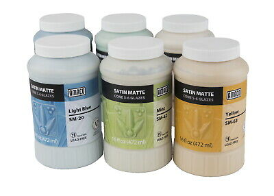 AMACO Satin Matte Glaze Classroom Pack 2, Assorted Colors, Set of 6 Pints