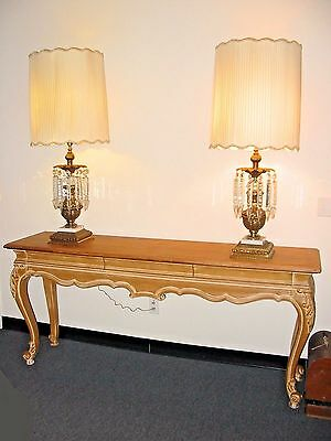 Rare Pair of Two Victorian Style Gold Gilt Crystal Prisms Lusters Table Lamps