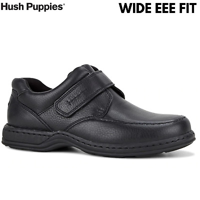 HUSH PUPPIES Men's Roger Slip On w Strap Extra Wide Leather Shoes - Black