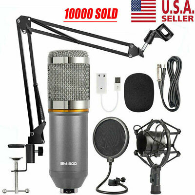 BM-800 Condenser Microphone Studio Recording Mic W/ Stand Shock Mount USA