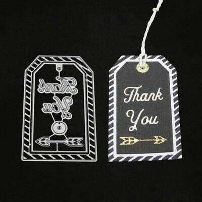 DIY Thank You Tag Metal Cutting Dies Stencil Scrapbooking Paper Card Embossing
