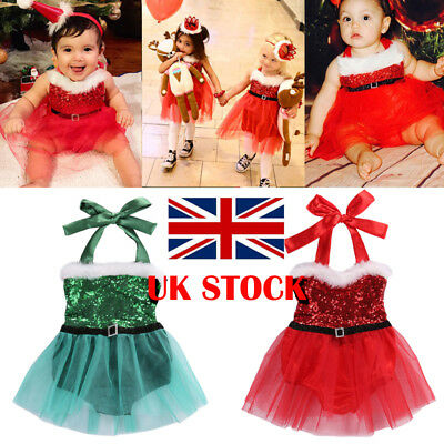 UK STOCK  Kids Baby Girl Clothes XMAS Santa Claus Party Tulle Tutu Dress