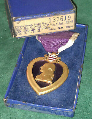 Ww2 Wwii Authentic Us Army Purple Heart Medal Numbered (137619) Matching Box