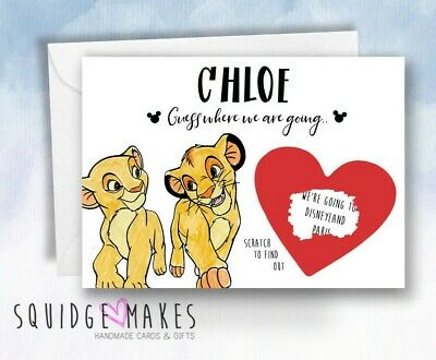 Surprise we going to Disney Scratchcard reveal Personalised lion king theatre