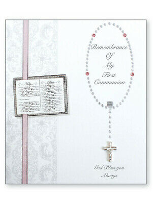 First Holy Communion 4 Page Keepsake Card with Pink Ribbon - Communion Gift
