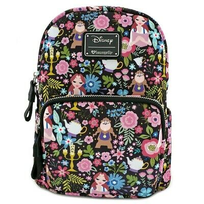 Loungefly Disney Beauty and the Beast Floral Print Mini Backpack NEW Authentic