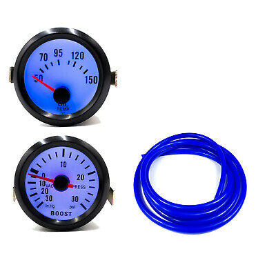 52mm 30Psi Boost & Oil Temp Gauge Black Bezel / Blue Back Light / Blue 4mm Hose