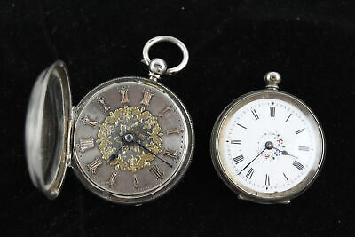 2 x Vintage Gents 925 STERLING SILVER & 800 Silver POCKET WATCHES Keywind (101g)