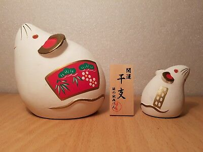 Vintage Japan Made Pair White Mouse ceramic (5cm)