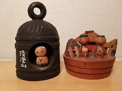 Vintage Japan Made 2(two) pcs Temple bell and Hot Spring Kokeshi (6 cm)