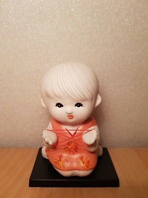 Vintage Japan Made Girl playing rubber trick figurine (10cm)
