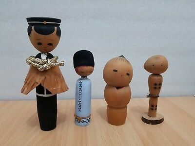 Vintage Japan Made 4 Kokeshi dolls (8-15cm)