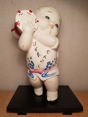Vintage Japan Made Hakata Drum Boy Ceramic Figurine (20cm)