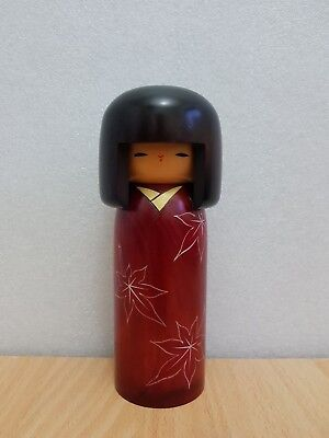 Japan Made Creative Autumn Maple leaves Kokeshi doll by Usaburo (18 cm)