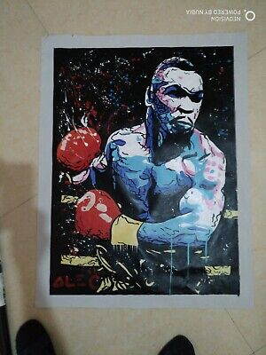"""Alec Monopoly Oil Painting on Canvas  art Decor,""""Mike tyson"""" 24×32in"""
