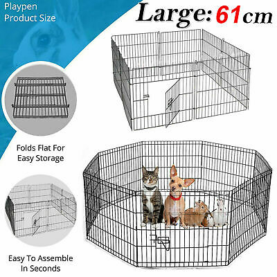 8 Panel Metal Foldable Pet Dog Rabbit Guinea Playpen Run Cage Fence Enclosure UK