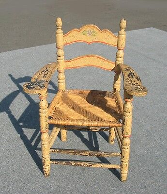 Vintage French Country Distressed Crackle Rush Seat Chair Monterey Style